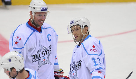 Ilya Kovalchuk (left) and Pavel Datsyuk