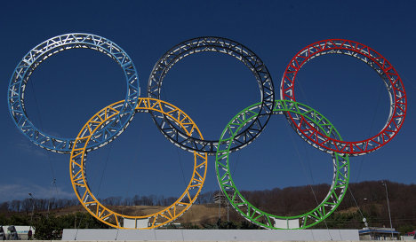 The Olympic rings on display in Sochi