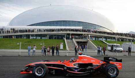 Marussia F1 car at the site of next year's Russian Grand Prix in Sochi