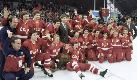 The Soviet hockey team that won gold at the 1984 Olympics in Sarajevo