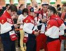 Члены сборной России по боксу во время проводов олимпийской сборной России в Рио-де-Жанейро в аэропорту Шереметьево
