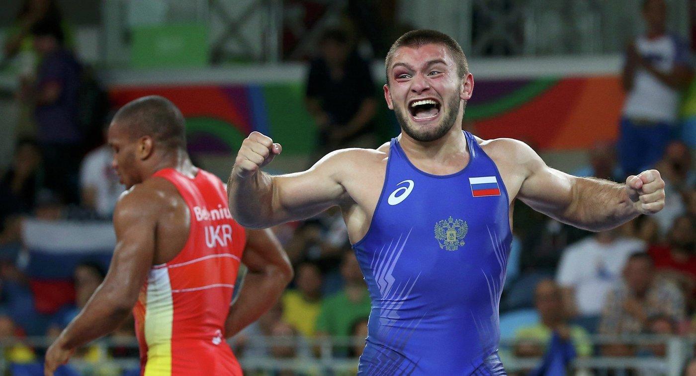 Давит Чакветадзе после победы в финале Олимпийских игр в Рио-де-Жанейро