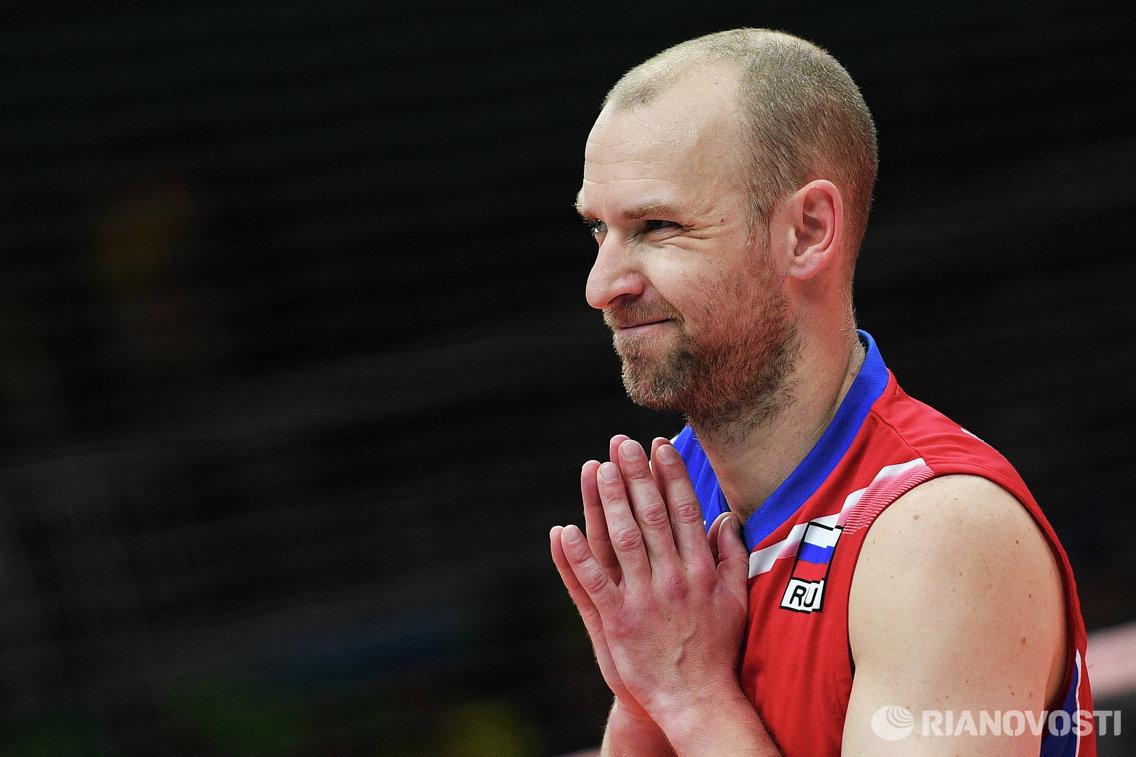 Либеро сборной России Алексей Вербов