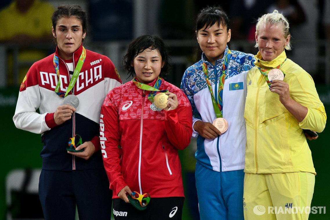 Наталья Воробьева, Сара Досё, Эльмира Сыздыкова и Анна Йенни Франссон (слева направо)