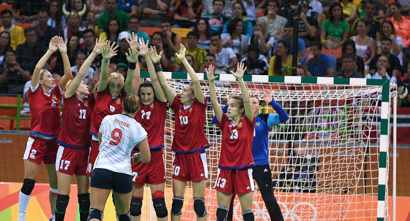 Игровой момент матч Норвегия – Россия на ОИ-2016