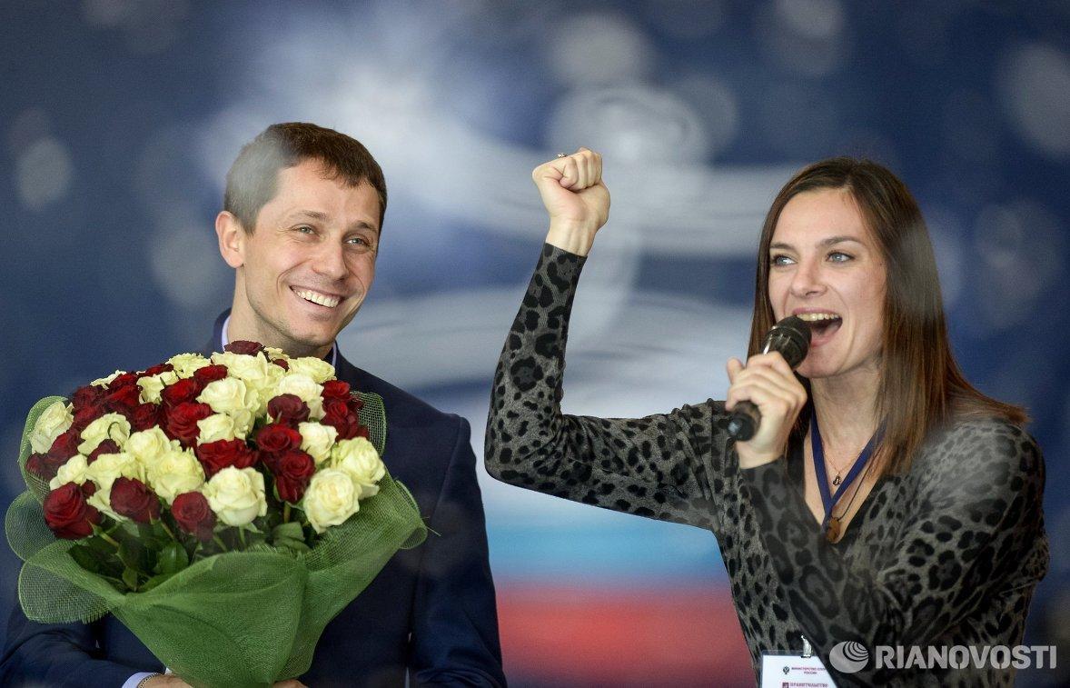 Олимпийский чемпион в беге на 800 м Юрий Борзаковский и двукратная олимпийская чемпионка в прыжках с шестом Елена Исинбаева