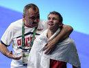 Главный тренер национальной команды по боксу Александр Лебзяк и Виталий Дунайцев (справа)
