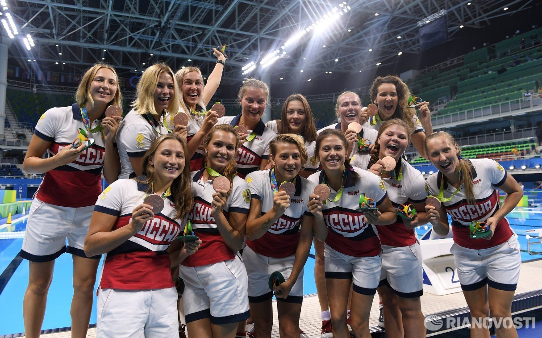 Ватерполистки сборной России, завоевавшие бронзовые медали на летних Олимпийских играх