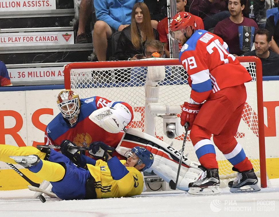 Игровой момент матча Кубка мира Швеция - Россия