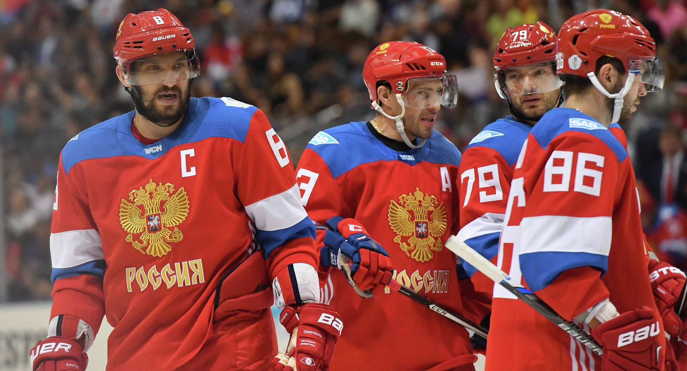 Хоккеисты сборной России Александр Овечкин, Павел Дацюк, Андрей Марков и Никита Кучеров (слева направо)