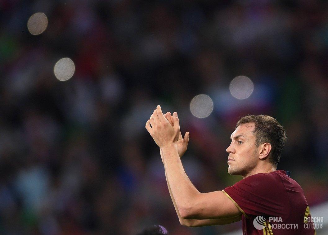 Нападающий сборной России Артём Дзюба в товарищеском матче между сборными России и Коста-Рики