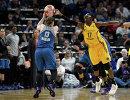 Игровой момент второго матча финала плей-офф женской НБА между командами Миннесота Линкс и Лос-Анджелес Спаркс