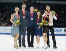 Мэдисон Хаббелл и Захари Донохью, Алекс Шибутани и Майя Шибутани, Екатерина Боброва и Дмитрий Соловьев (слева направо)