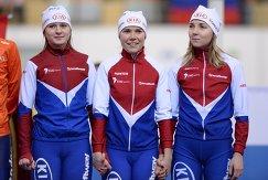 Конькобежки сборной России, занявшие третье место в командной гонке