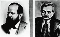 Американский шахматист Вильгельм Стейниц (1836-1900) (слева)
