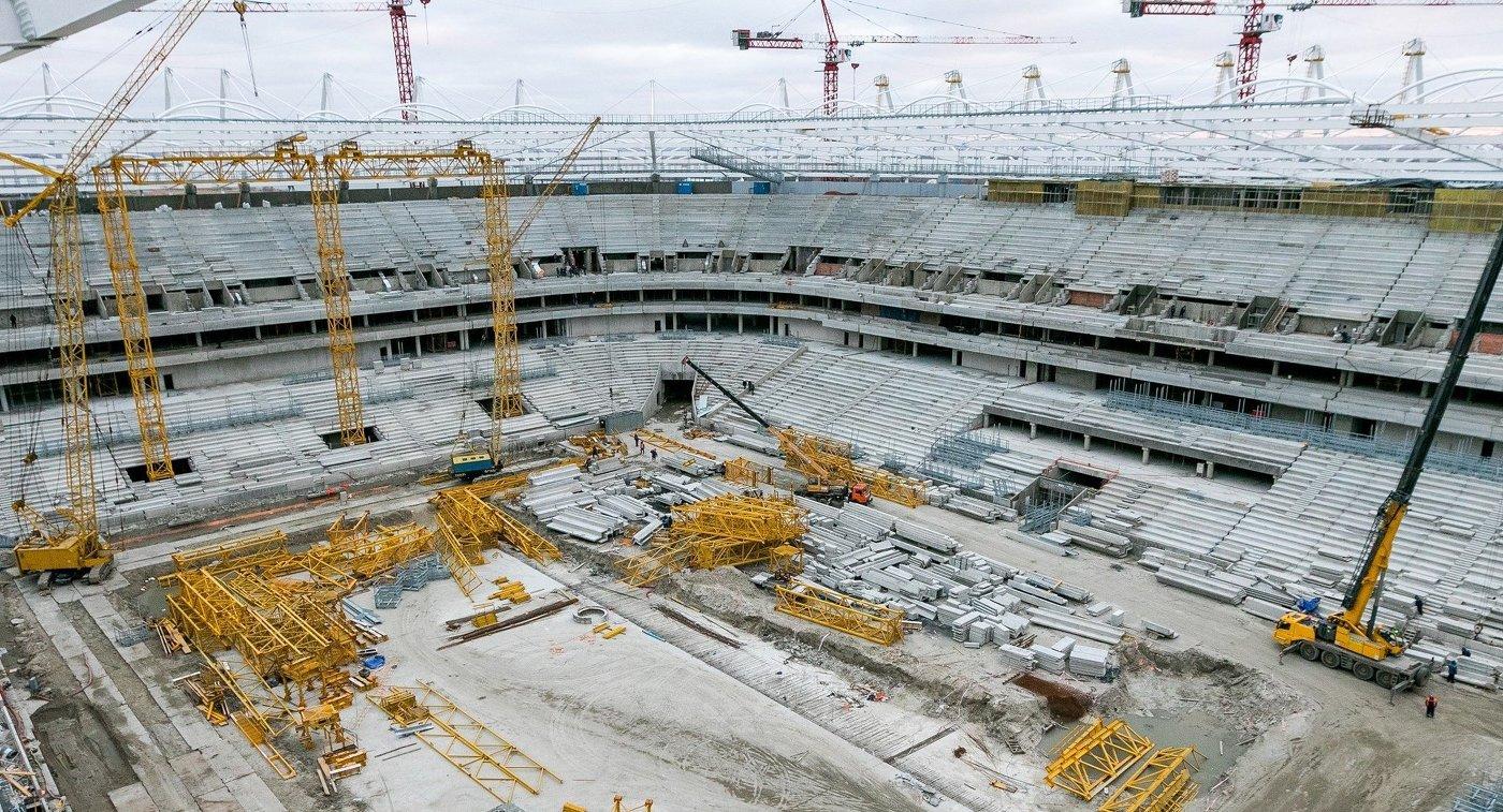 Строительство стадиона Арена Ростов, который примет матчи чемпионата мира-2018 по футболу
