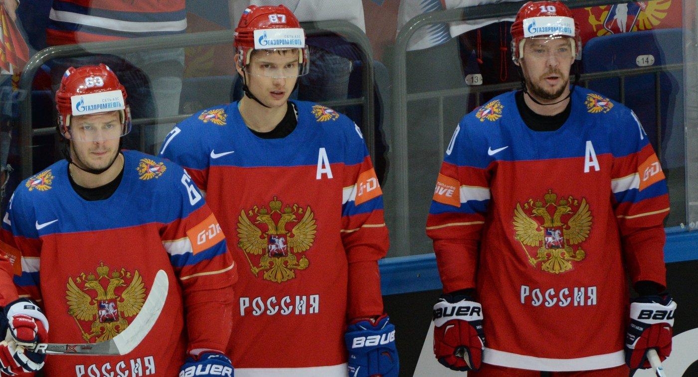 Хоккеисты сборной России Евгений Дадонов, Вадим Шипачев и Сергей Мозякин (слева направо)