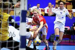 Игровой момент матча чемпионата Европы по гандболу между сборными России и Чехии