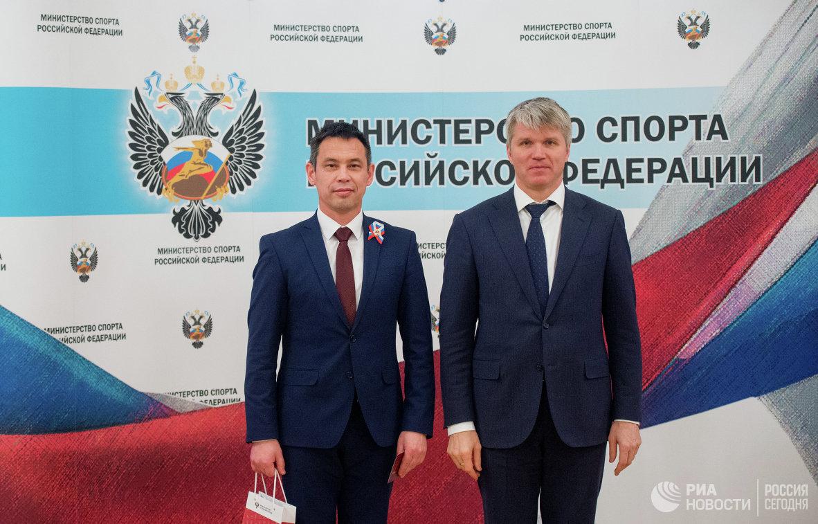 Два министра: министр спорта Павел Колобков (справа) и обладатель золота ГТО – министр природопользования и экологии республики Башкортостан Илдар Хадыев
