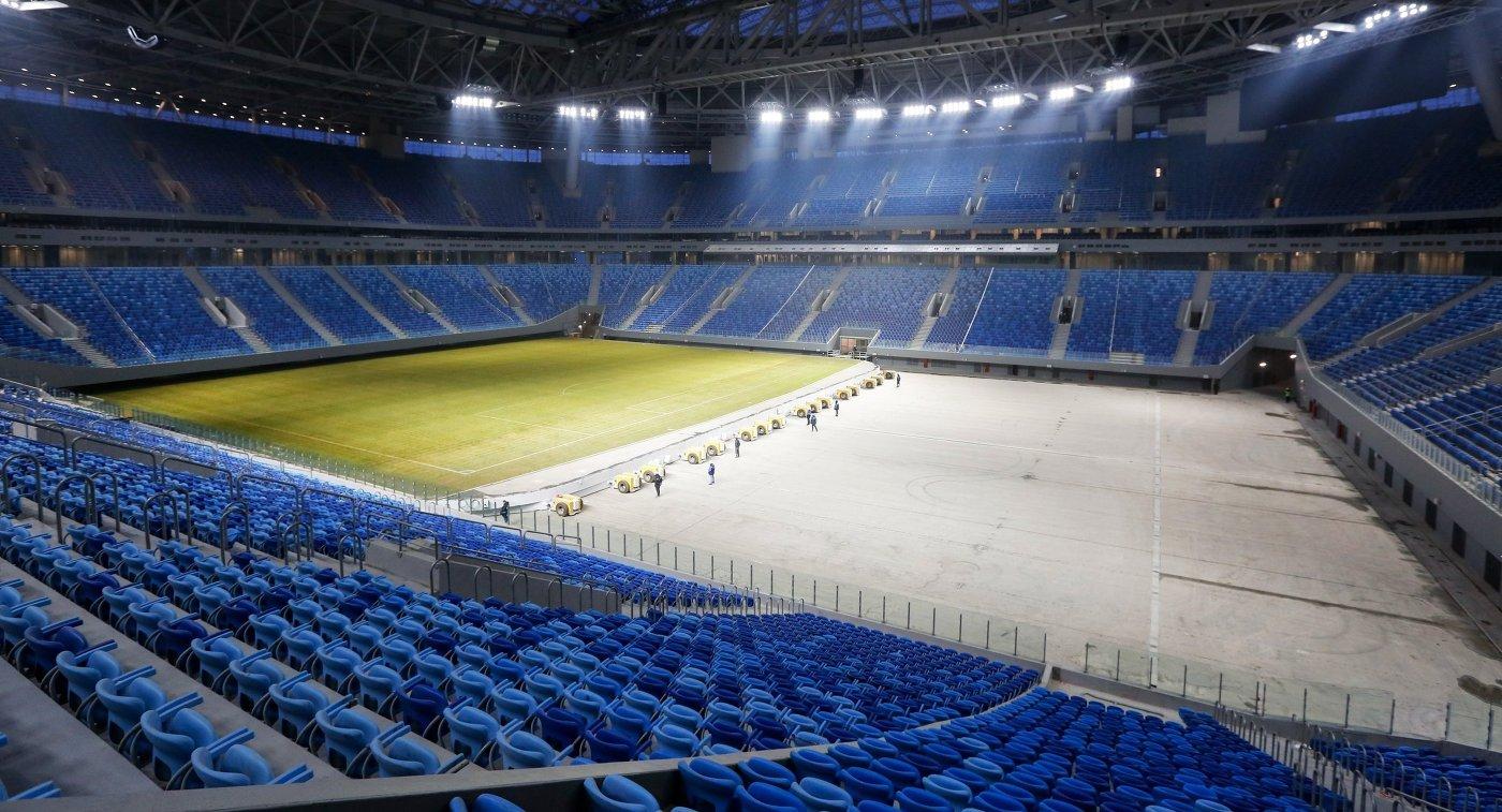 Выдвижное поле стадиона Зенит-Арена в Санкт-Петербурге
