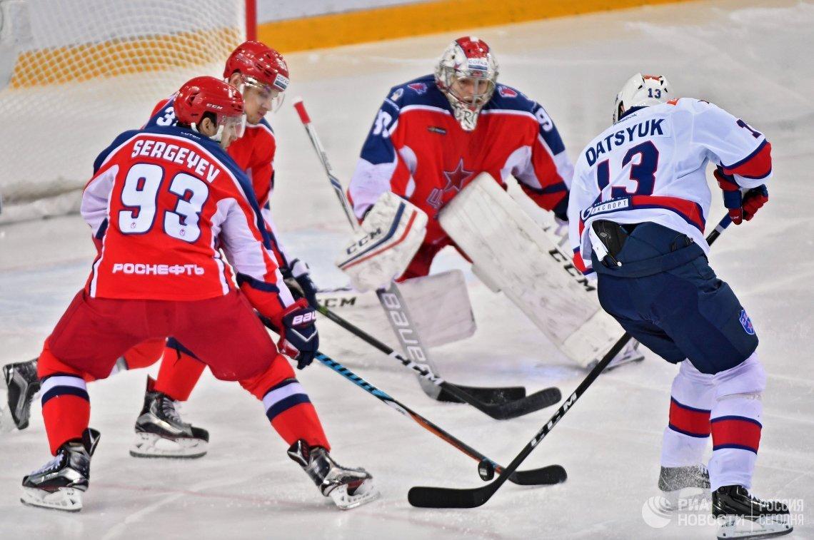 Игровой момент матча ЦСКА - СКА