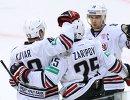Хоккеисты Металлурга Ян Коварж, Данис Зарипов и Сергей Мозякин (слева направо)