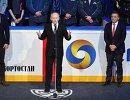 Президент ИИХФ Рене Фазель, глава Республики Башкортастан Рустэм Хамитов и президент КХЛ Дмитрий Чернышенко (справа налево)