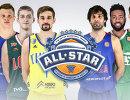 Стартовые пятерки команд Звезды России (слева) и Звезды мира, которые сыграют в Матче всех звезд Единой лиги ВТБ