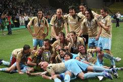Команда Зенит, ставшая обладателем Суперкубка Европы по футболу