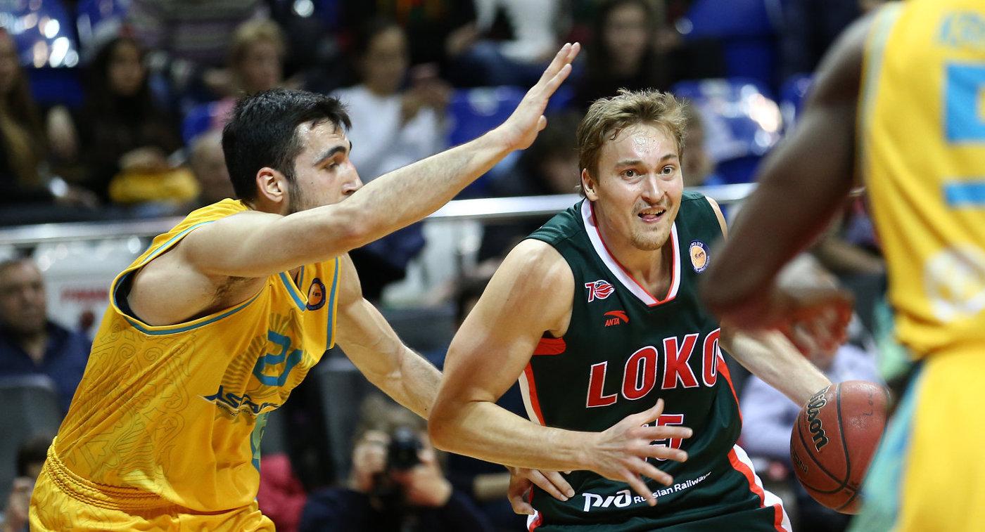 Игровой момент матча Единой лиги ВТБ между БК Локомотив-Кубань и БК Астана