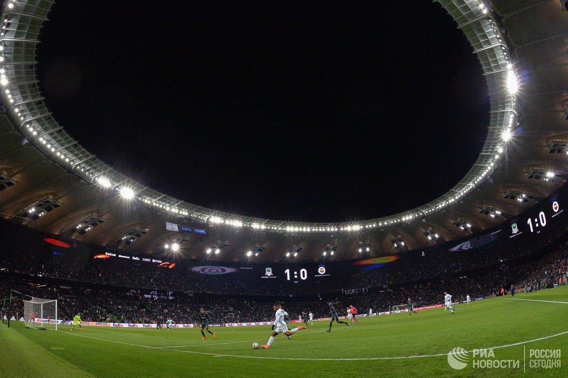 Игровой момент матча Краснодар - Фенербахче