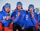 Российские биатлонисты Антон Шипулин, Антон Бабиков, Максим Цветков, Алексей Волков (слева направо)