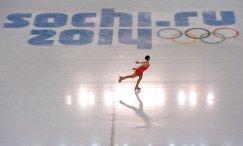 Российская фигуристка Аделина Сотникова выступает в короткой программе на зимних Олимпийских играх в Сочи