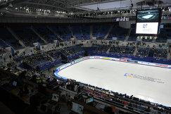 Стадион в Пхенчхане перед началом выступления фигуристок