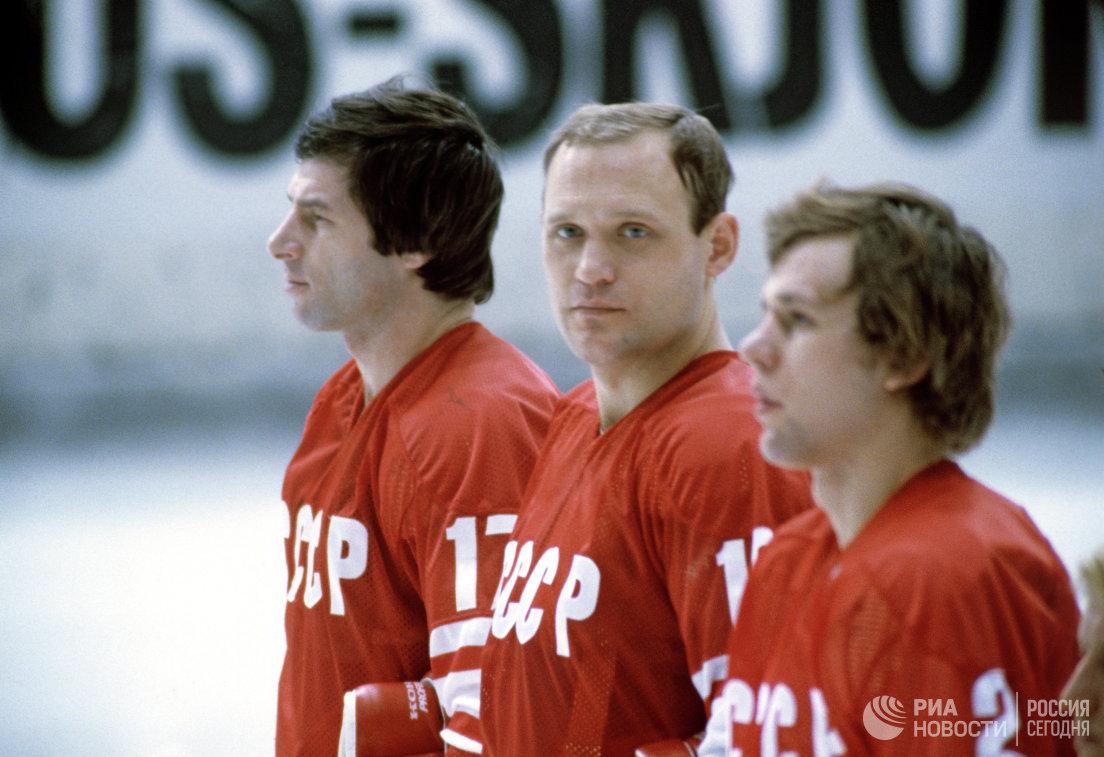 Хоккеисты Валерий Харламов, Владимир Петров и Вячеслав Фетисов (слева направо)
