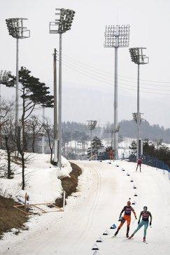 Спортсмены на тренировке перед соревнованиями VII этапа Кубка мира по биатлону в корейском Пхенчхане