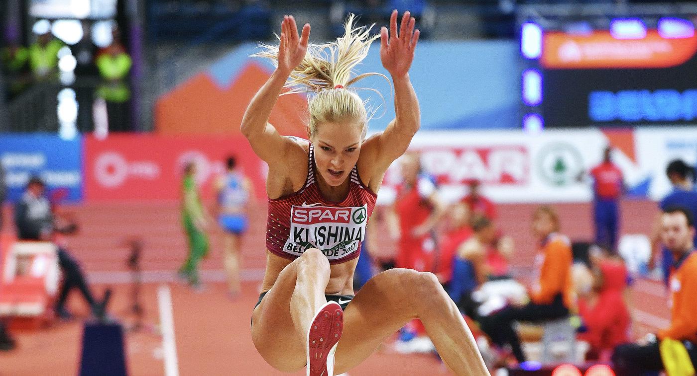 Дарья Клишина, единственная представительница России на чемпионате Европы по легкой атлетике в помещении, который проходит в Белграде, во время квалификации соревнований по прыжкам в длину
