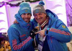 Россиянин Сергей Устюгов и тренер Маркус Крамер (справа)