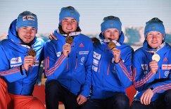 Церемония награждения призеров мужской эстафеты на ЧМ по биатлону