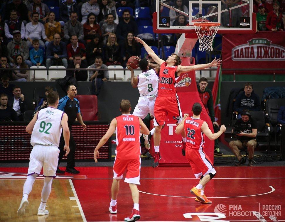Игровой момент матча баскетбольного Кубка Европы Локомотив-Кубань - Уникаха