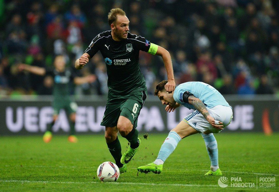 Игровой момент матча Краснодар - Сельта