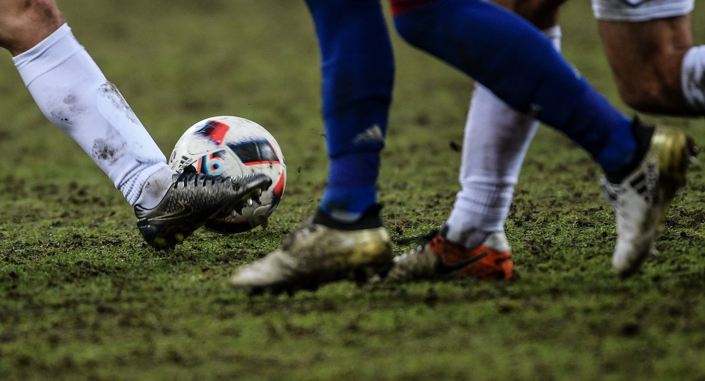 Игроки на матче 17-го тура чемпионата России по футболу