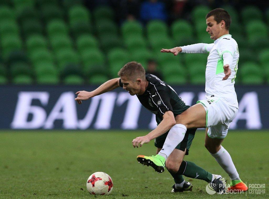 Игровой момент матча Краснодар - Уфа