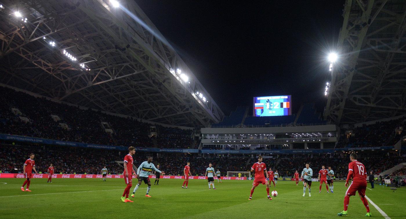 Игровой момент товарищеского матча между сборными России и Бельгии