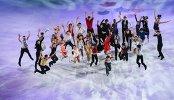 Спортсмены во время показательных выступлений на чемпионате мира по фигурному катанию в Хельсинки
