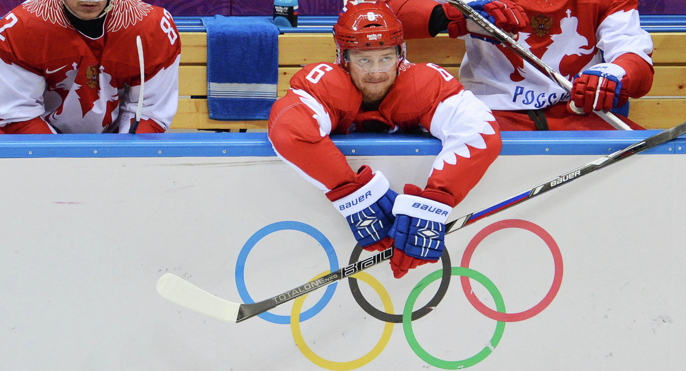 Хоккеисты сборной России Евгений Медведев, Никита Никитин и Федор Тютин (слева направо)