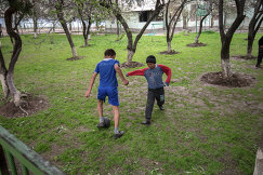 Ученики шахринавской школы-интерната в Таджикистане играют в футбол