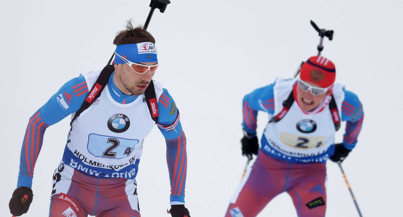 Российские биатлонисты Антон Шипулин и Антон Бабиков