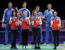 Церемония награждения призеров командного чемпионата мира по фигурному катанию в Токио