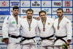 Француз Сирилль Маре, азербайджанец Эльхан Маммадов и россияне Кирилл Денисов и Казбек Занкишиев (слева направо)